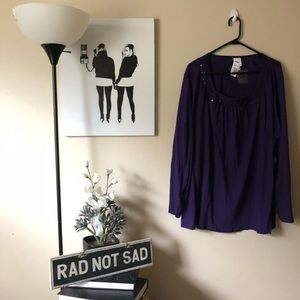 NWT Just My Size Purple Sequin Long Sleeve Blouse